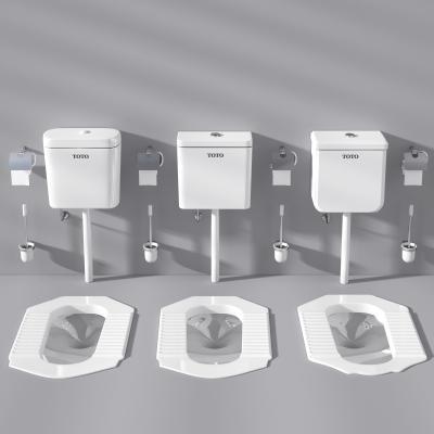 現代蹲便器沖水箱蹲廁紙巾架馬桶擦組合3d模型下載