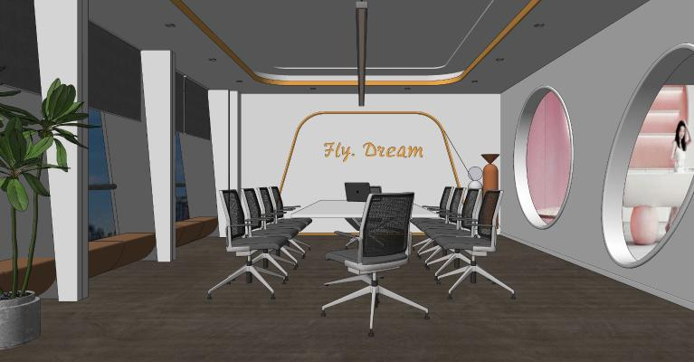 现代小会议室 办公桌椅