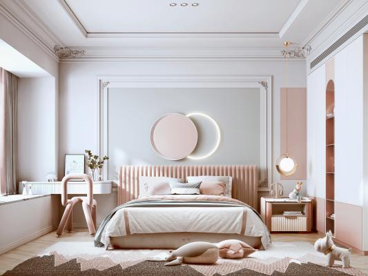 法式卧室 双人床 床头柜