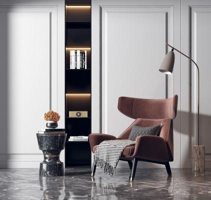 现代休闲单人沙发 落地灯组合