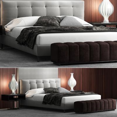 意大利Minotti米洛提现代布艺双人床床头柜组合