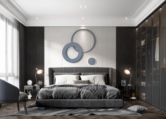 现代卧室 双人床 床品