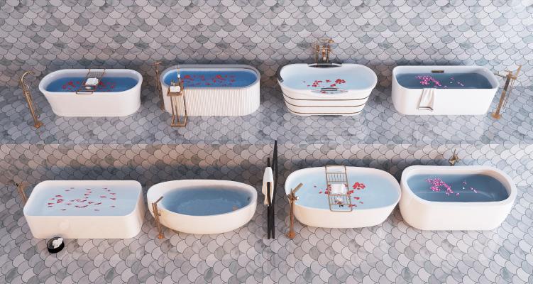 现代卫生间浴缸 卫浴 花洒组合