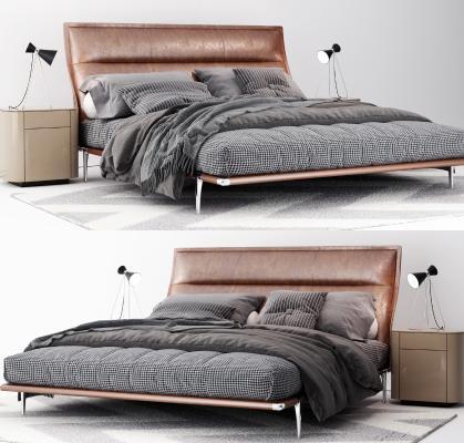 现代皮革双人床
