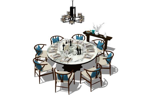 新中式餐桌椅圆桌吊灯