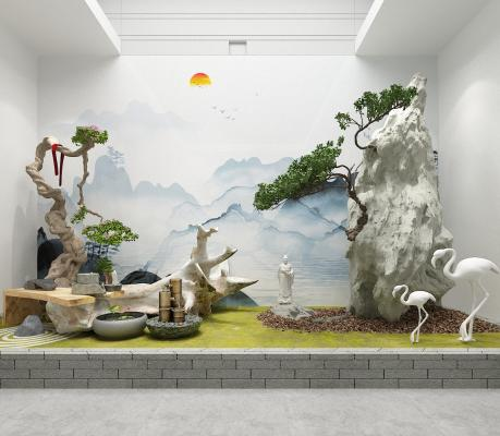 中式園林景觀 盆景 景觀小品