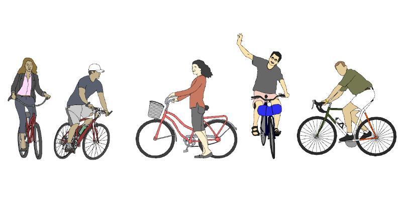 现代骑车人物