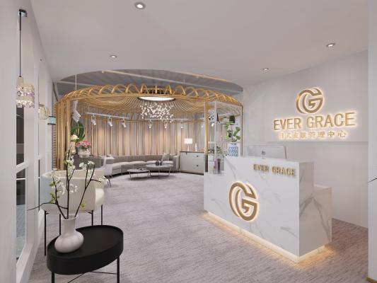 现代美容院美容SPA按摩前台接待 休闲沙发弧形沙发 吊灯