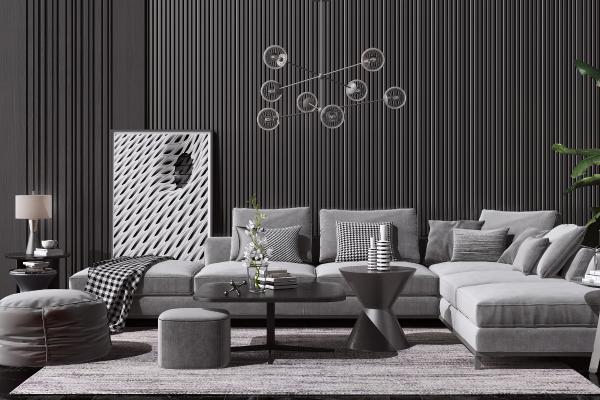 现代布艺转角沙发茶几组合 玻璃吊灯 边几