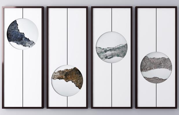 新中式装饰挂画 抽象画 山水画