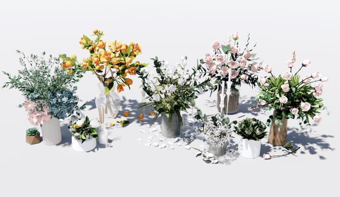 现代花瓶插花 花艺 玫瑰花