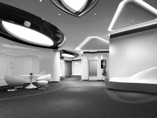 现代公司过道 电梯厅