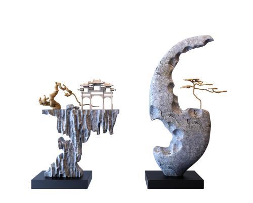新中式禪意石頭裝飾擺件