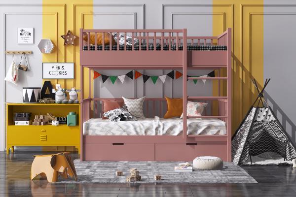 現代儿童床 上下铺 边柜