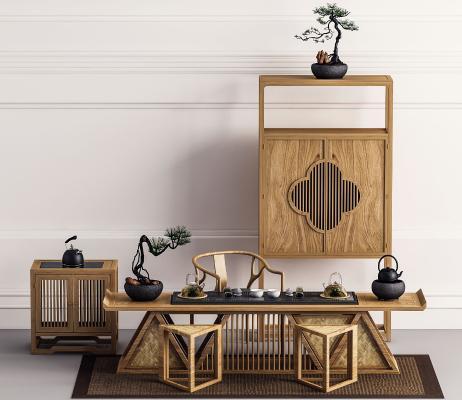 中式实木茶桌椅 装饰柜
