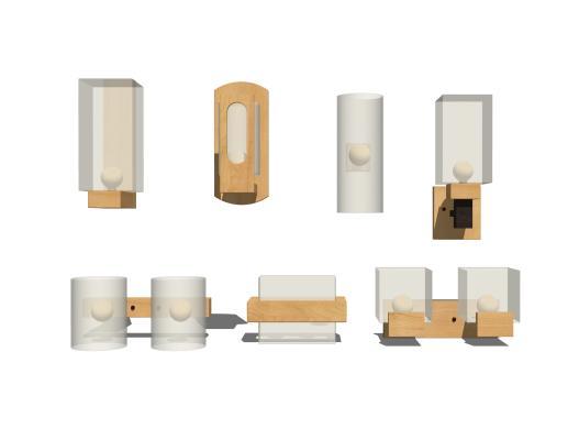现代北欧木质壁灯组合