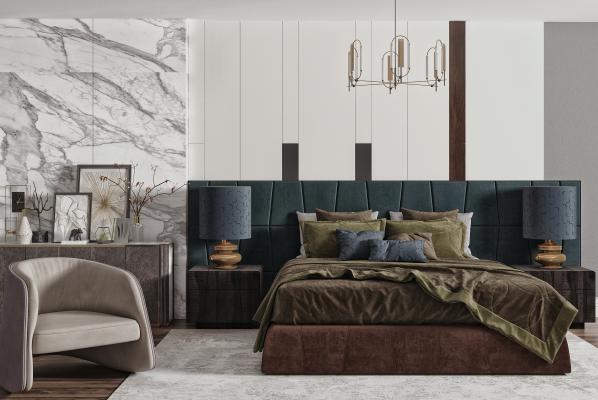 现代双人床组合 吊灯 床头柜