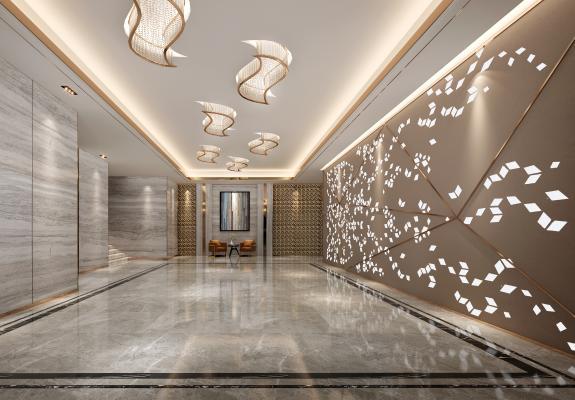 现代酒店过厅 电梯厅 沙发组合