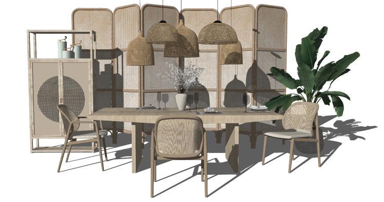 新中式餐桌椅 禅意餐桌椅 户外藤椅