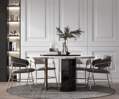 现代轻奢餐厅 餐桌椅