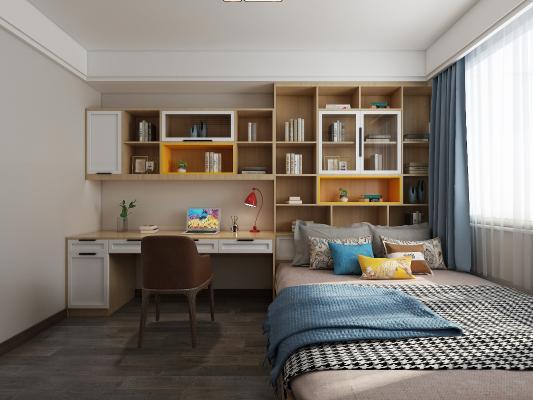 北欧卧室 榻榻米 书桌 衣柜