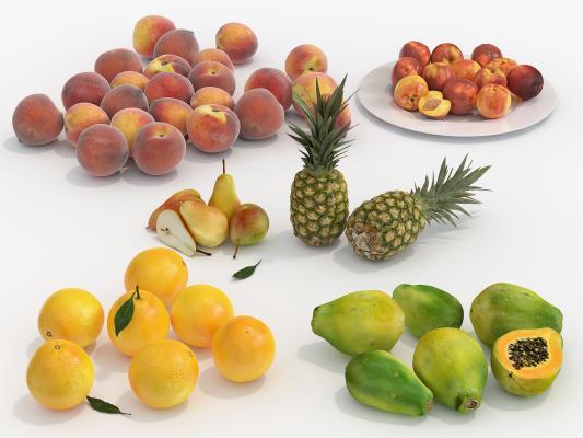 现代水果 桃子 桔子 木瓜