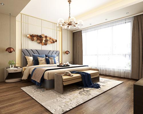 现代风格主卧室 双人床 吊灯