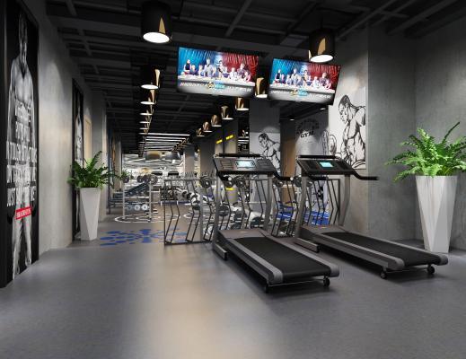现代健身房 器械区 跑步机 盆栽 吊灯