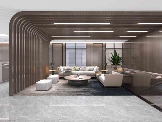 現代風格辦公休息區 沙發茶幾 隔斷