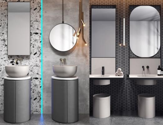 现代立柱盆 镜子组合