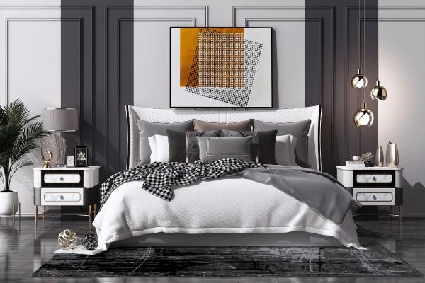 现代轻奢双人床组合 床头柜 台灯