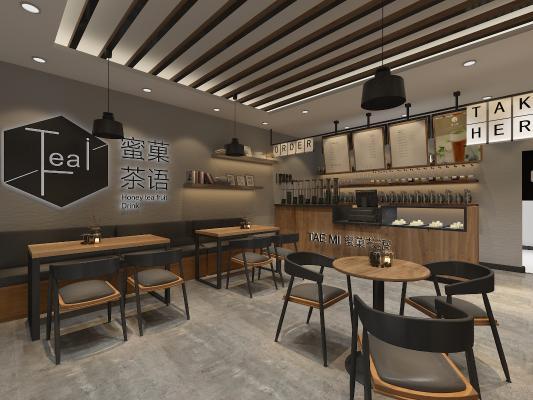 工业风奶茶店 咖啡店 甜品店 招牌门头 桌椅卡座