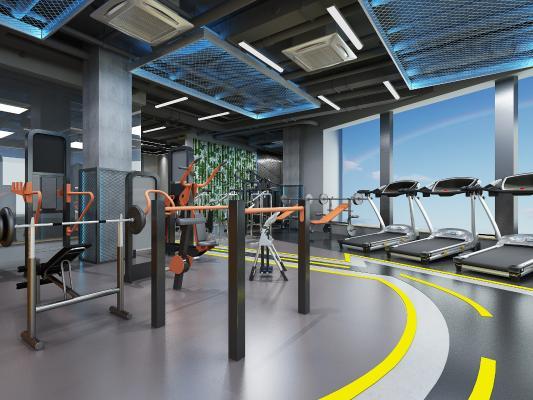 工业风健身房 吊灯 前台