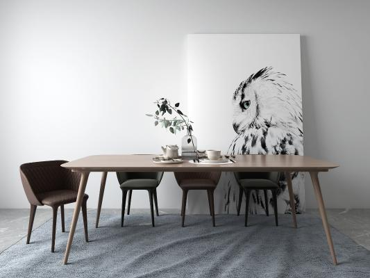 现代餐桌 挂画