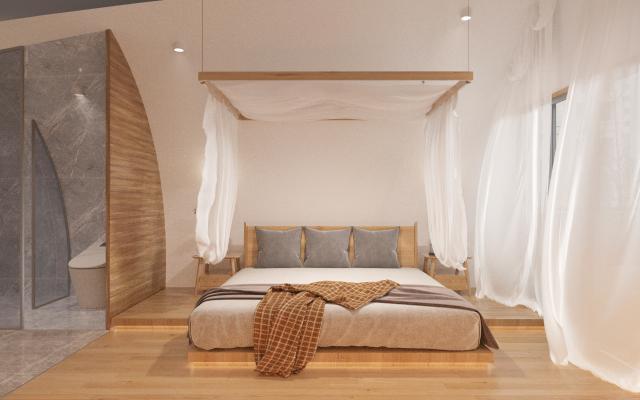 日式民宿客房 雙人床 床頭柜