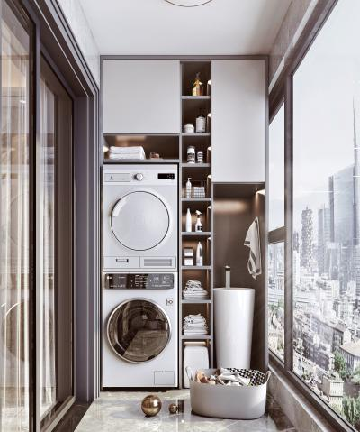 现代阳台 阳台柜 洗衣机