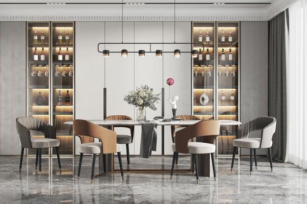 现代餐桌椅 吊灯
