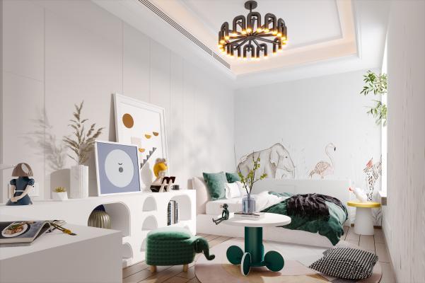 现代儿童房 儿童床 吊灯 茶几 地毯 书柜