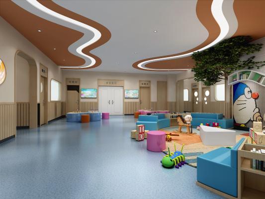 现代学校 教室 早教中心 玩耍区 吧台 过道