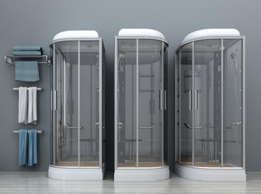 现代淋浴房 淋浴间 玻璃淋浴房 花洒毛巾架