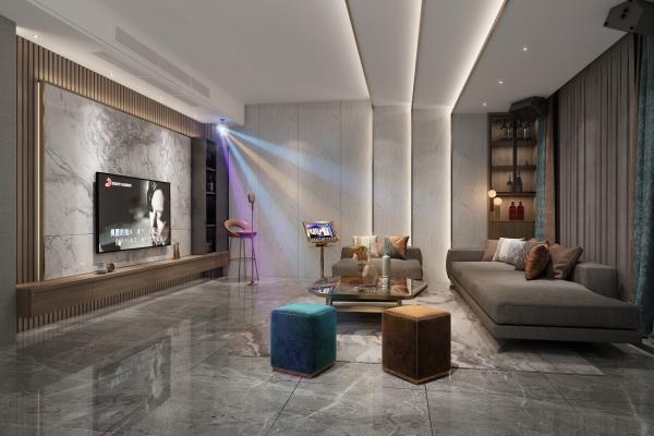 现代家庭KTV 影音室 沙发 点歌器
