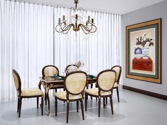 欧式古典餐桌椅组合 吊灯