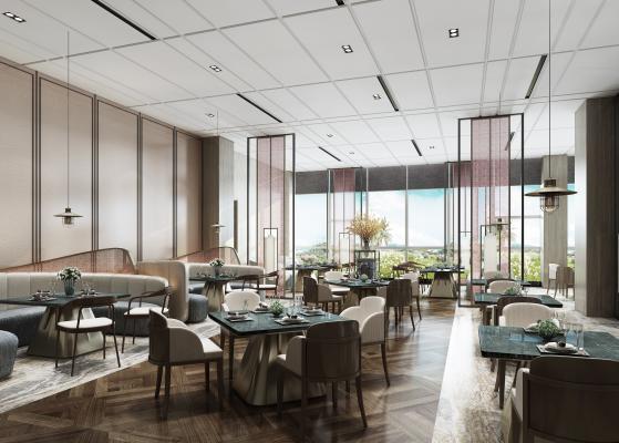 现代餐厅 桌椅 餐具