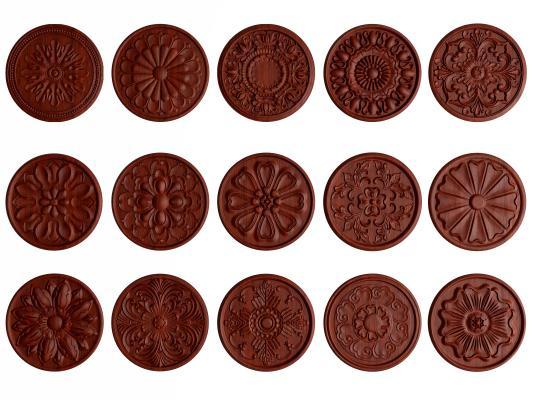 新中式实木浮雕圆盘 挂件 装饰小件