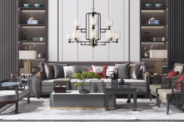 新中式沙发茶几 组合沙发 边几 单人椅