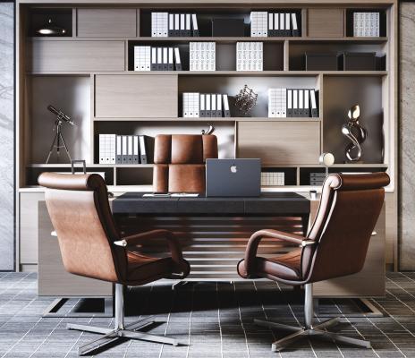 现代老板经理办公桌椅 皮椅 书架组合