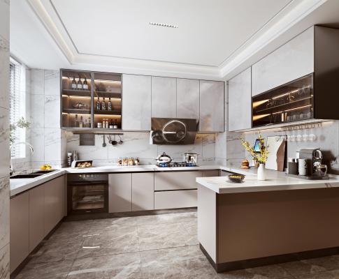 现代轻奢厨房 油烟机灶具 洗碗机