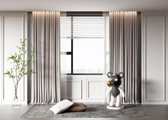 现代窗帘 雕塑 摆件