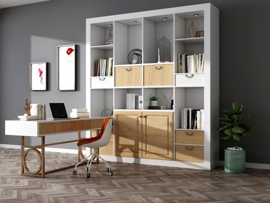 现代书柜 装饰边柜 书桌椅组合