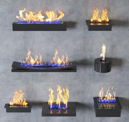 现代燃气壁炉 火焰 燃气火焰组合